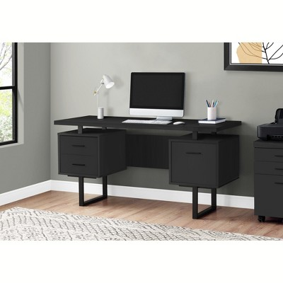 "Monarch Specialties Computer Desk with Drawers, Contemporary Style, Home & Office Computer Desk with Metal Legs, 60"" L"