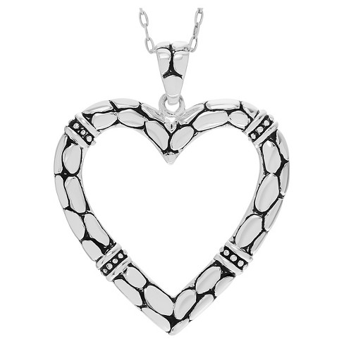 "Women's Journee Collection Textured Open Heart Pendant Necklace in Sterling Silver - Silver (18"") - image 1 of 2"