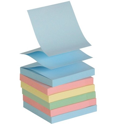 School Smart Pop-Up Self-Stick Adhesive Note, 3 x 3 Inches, Assorted Pastel Colors, 100 Sheets per Pad, pk of 12