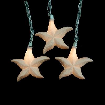 Kurt S. Adler 10ct Glittered Starfish Novelty Christmas Lights Ivory - 10' Green Wire