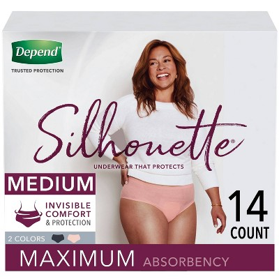 Depend Silhouette Incontinence Underwear for Women - Maximum Absorbency - Medium - Pink & Black - 14ct
