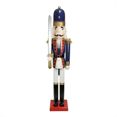 """Northlight 48.25"""" Blue and White Christmas Nutcracker Soldier with Sword"""