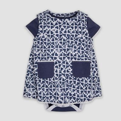 Burt's Bees Baby® Baby Girls' Organic Cotton Stamped Hearts Dress - Indigo 12M
