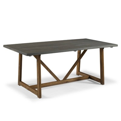 """72"""" Solid Wood Trestle Dining Table Gray/Brown - Saracina Home"""