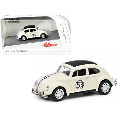 """Volkswagen Beetle #53 """"Rallye"""" Cream with Stripes and Black Top 1/87 (HO) Diecast Model Car by Schuco"""