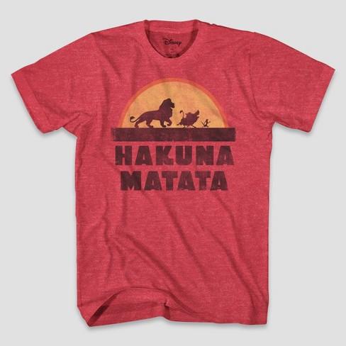 Men's Disney Tall Hakuna Matata Short Sleeve Graphic T-Shirt Red LT - image 1 of 1