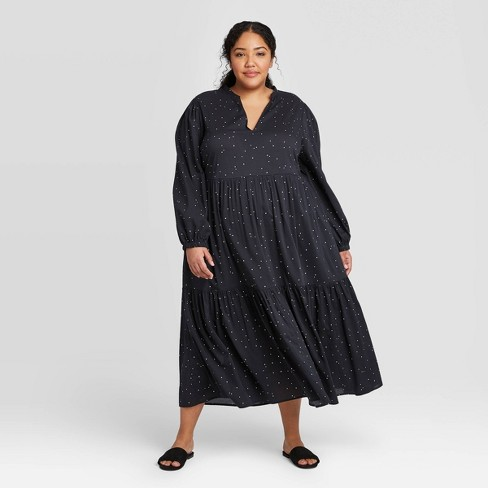 Women's Plus Size Polka Dot Long Sleeve Deep Tiered Flowy Dress - Who What Wear™ - image 1 of 3