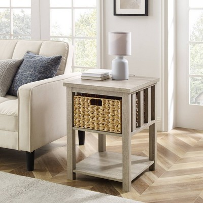 Ethan Mission Side Table with Woven Basket - Saracina Home