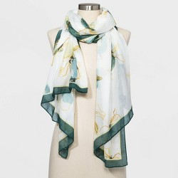 Women's Oblong Floral Print Scarf - A New Day™ Cream One Size