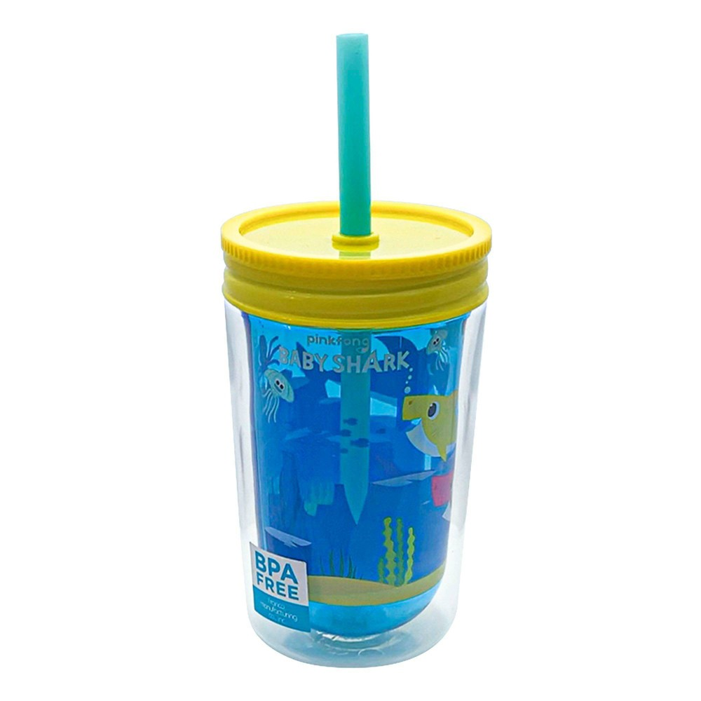 Pinkfong Baby Shark 12 5oz Plastic Tumbler With Lid And Straw