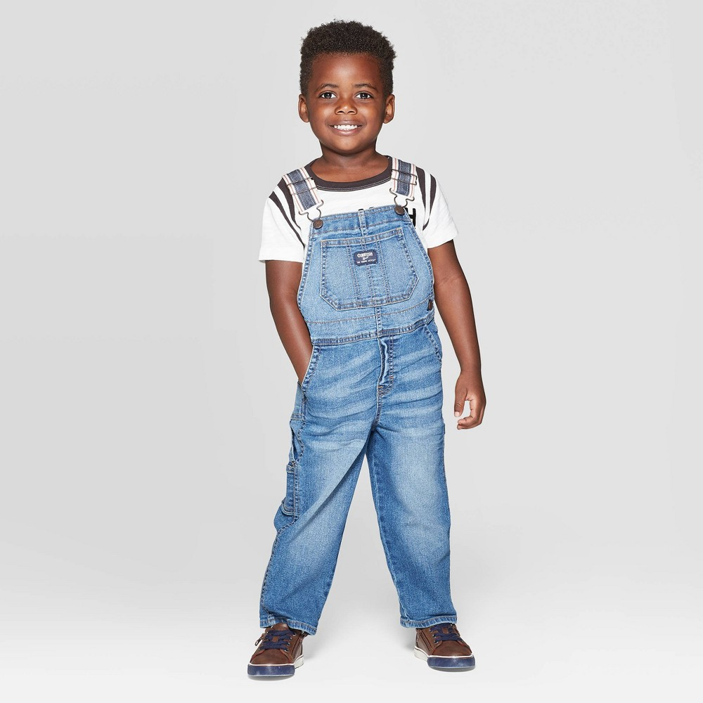 Image of OshKosh B'gosh Toddler Boys' Long Overall - Blue Denim 18M, Toddler Boy's
