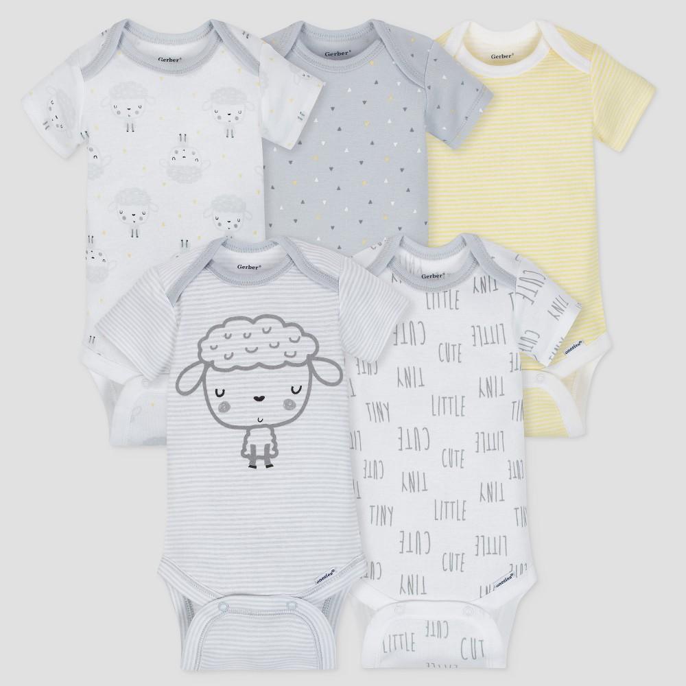 Gerber Baby 5pk Short Sleeve Onesies Bodysuit Sheep - Gray/White/Yellow Newborn, Newborn Unisex