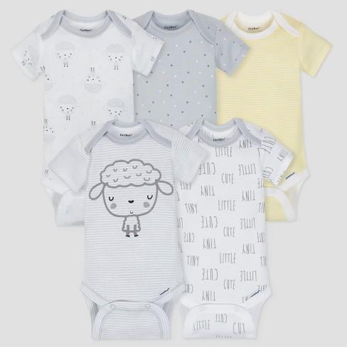 Gerber Baby 5pk Short Sleeve Onesies Bodysuit Sheep - Gray/White/Yellow - image 1 of 6