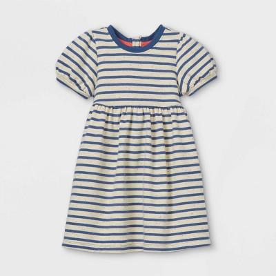 Toddler Girls' Striped Puff Sleeve Dress - Cat & Jack™ Navy