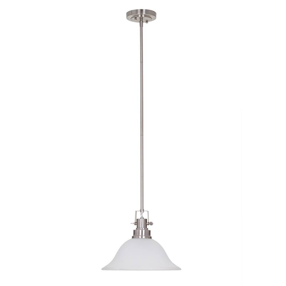 Image of One Light Pendant Brushed Nickel - Cresswell Lighting, Silver