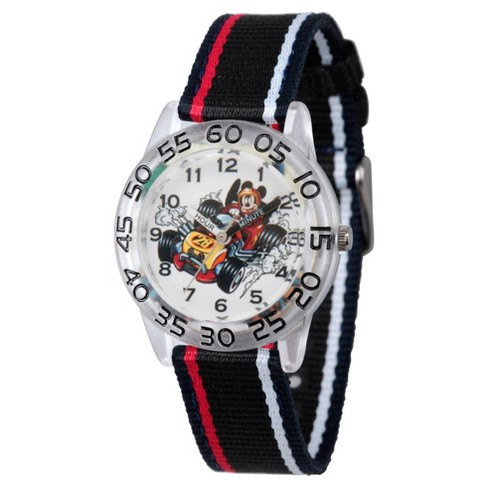 Boys' Disney Mickey Mouse Clear Plastic Time Teacher Watch - Black - image 1 of 1
