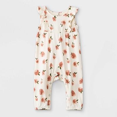 Grayson Mini Baby Girls' Strawberry Ruffle Romper - White 12M