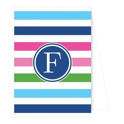 Note Cards - Preppy Stripe Monogram - F