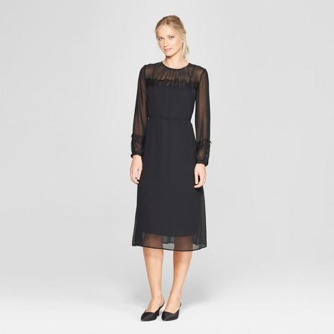 Women s Long Sleeve Lace Mix Midi Dress - Who What Wear™ Black   Target ceeb96b34e