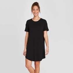 Women's Short Sleeve Beautifully Soft Nightgown - Stars Above™ Black