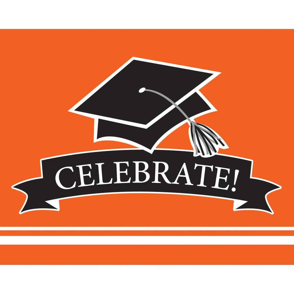 25ct Orange Graduation School Invitations