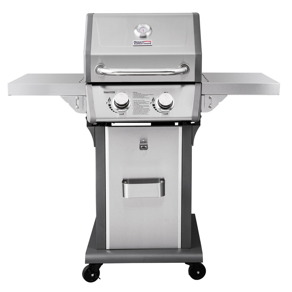 Royal Gourmet – 2 Burner Liquid Propane Gas Grill with Side Shelves – GG2006, Silver 53403445