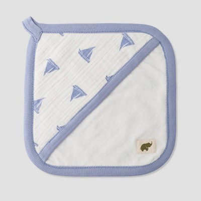 Layette by Monica + Andy Baby 3pc Come Sail Away Bath Towel Set - Blue