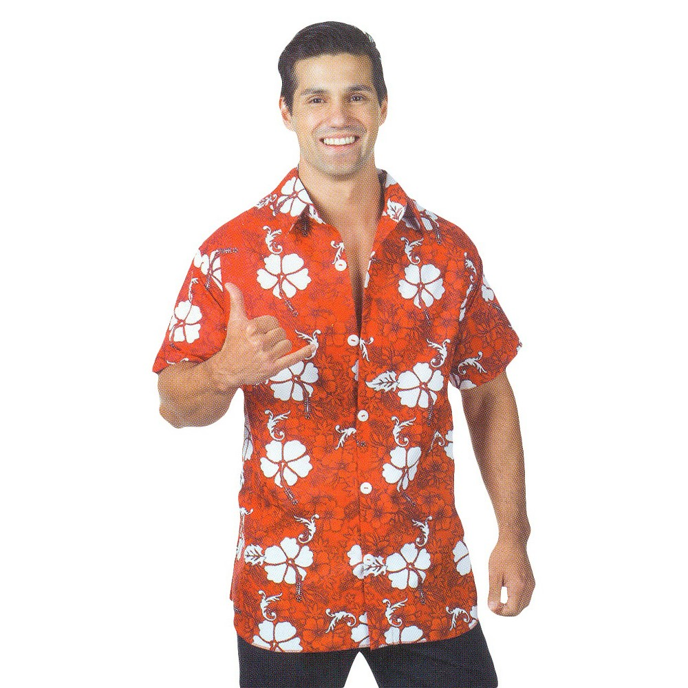 Adult Hawaiian Shirt Costume Red, Men's