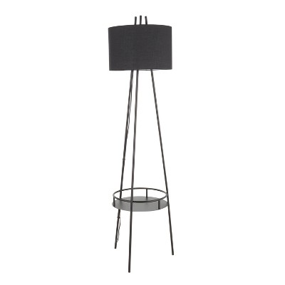 Trident Contemporary Floor Lamp with Metal and Linen Shade Black (Includes LED Light Bulb) - LumiSource