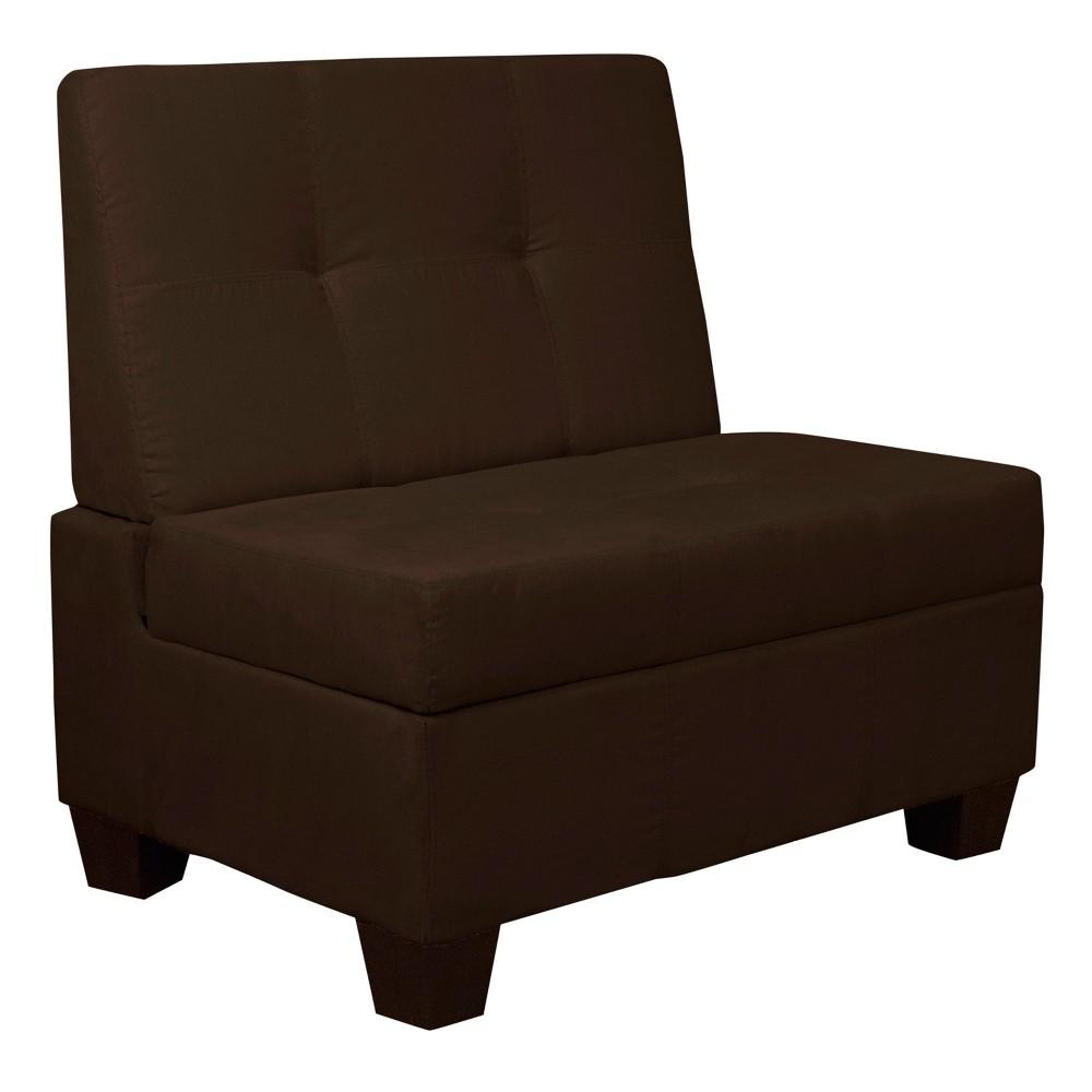Valet Tufted Padded Hinged Storage Chair Suede Chocolate Brown 36 Wide - Sit N Sleep, Espresso Brown