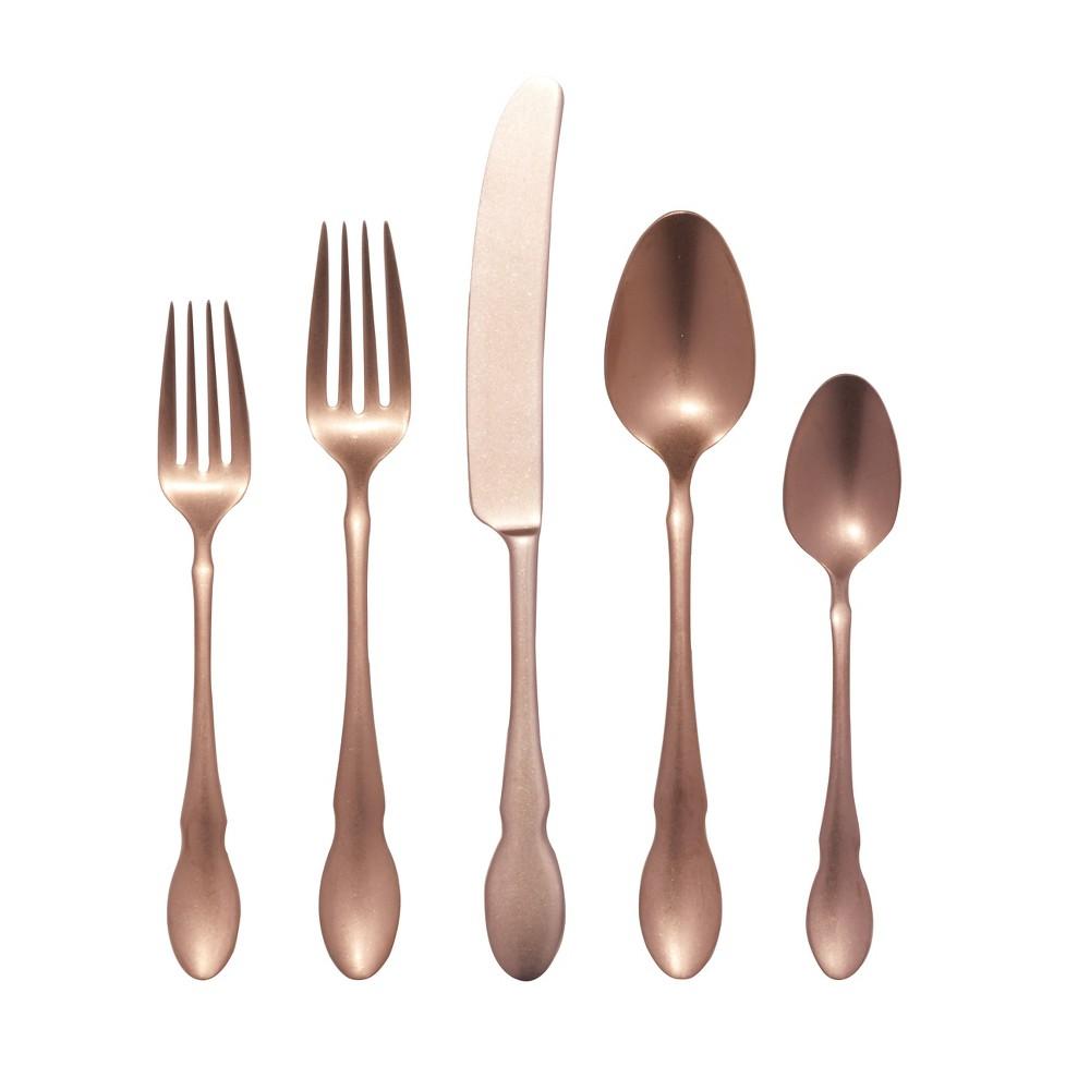 Image of Gourmet Settings 20pc Maple Silverware Set Rose Gold