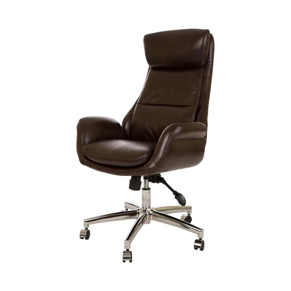 MidCentury Modern Leatherette Gaslift Adjustable Swivel Office Chair Camel - Glitzhome