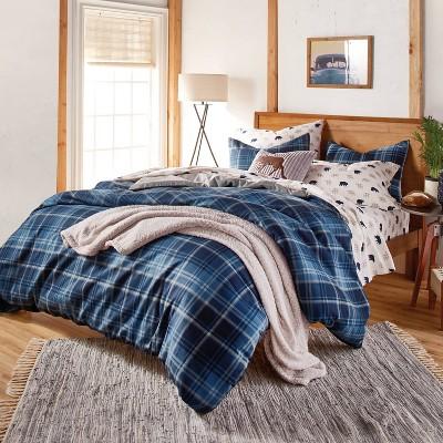 3Pc Heartland Plaid Comforter Set Blue - G.H. Bass