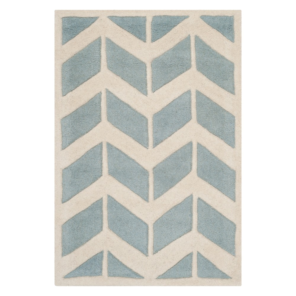 2'X3' Chevron Accent Rug Blue/Ivory - Safavieh