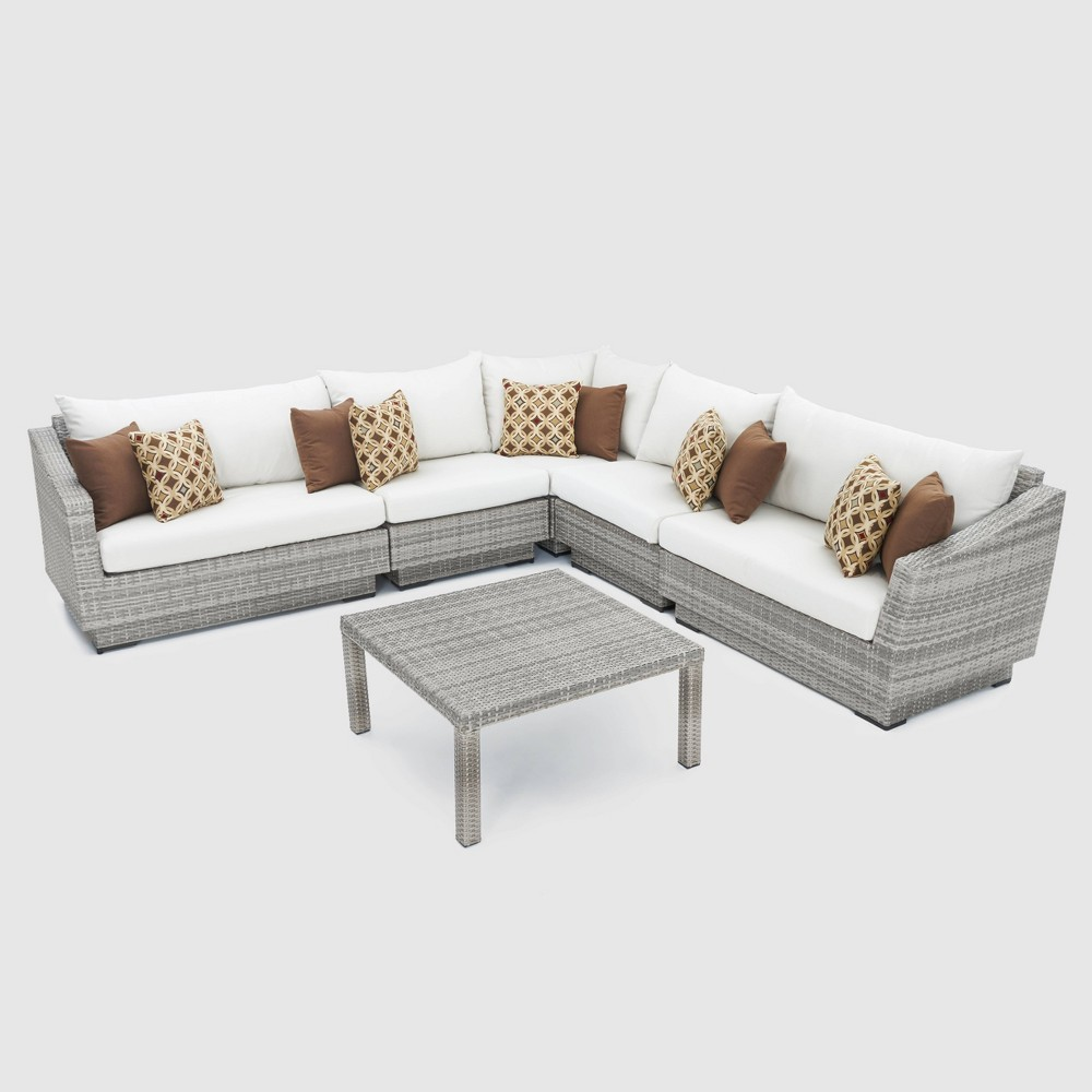 Cannes 6pc Corner Sectional Set with Cushions - Cream (Ivory) - Rst Brands