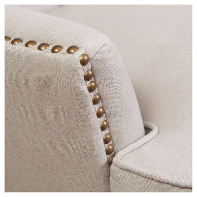 Tafton Tufted Fabric Club Chair Natural   Christopher Knight Home : Target