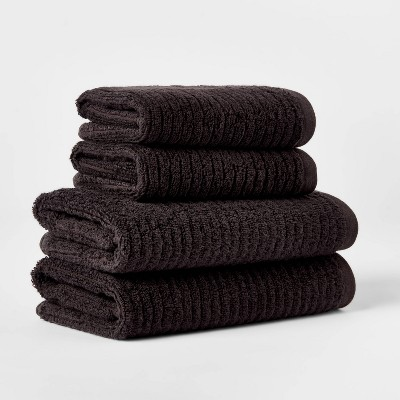 4pk Quick Dry Ribbed Hand/Wash Towel Set Black - Threshold™
