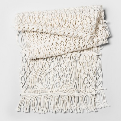 108 x14  Macrame Runner White - Threshold™