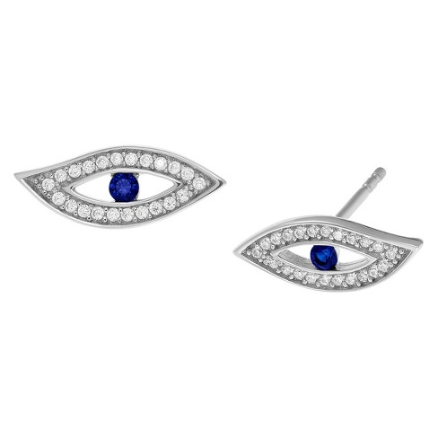 1/2 CT. T.W. Round-cut Cubic Zirconia Evil Eye Stud Pave Set Earrings in Sterling Silver - Blue - image 1 of 3