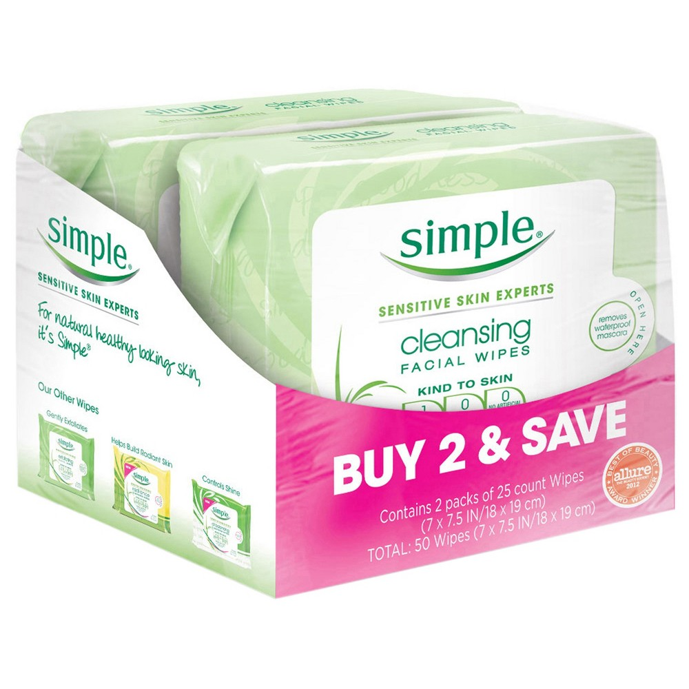 Image of Unscented Simple Cleansing Facial Wipes Kind to Skin - 2x25ct