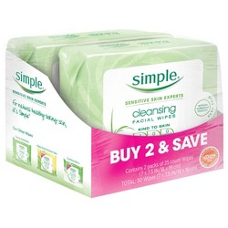 Unscented Simple Cleansing Facial Wipes Kind to Skin - 2x25ct