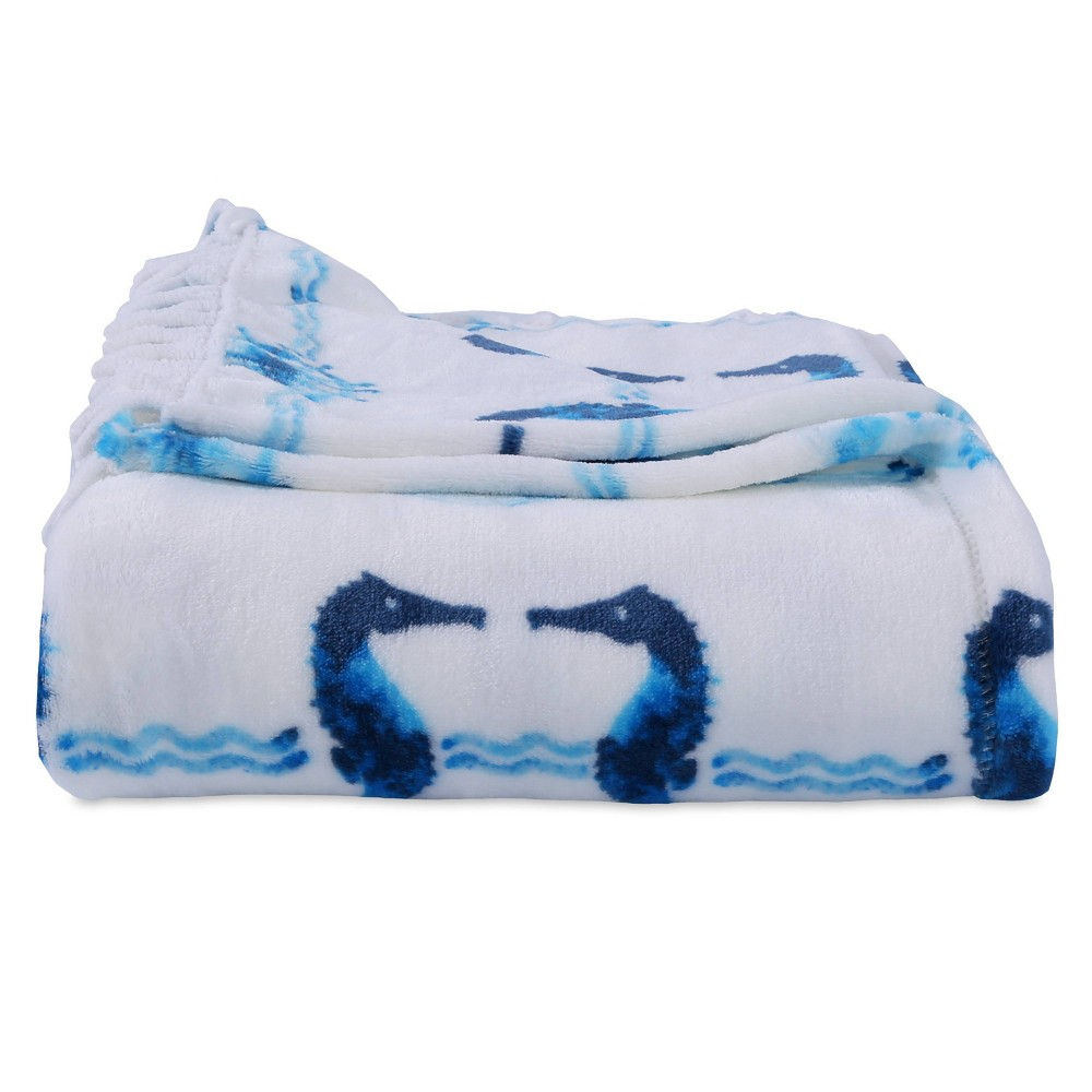 Image of Seahorse Plush Throw with Fringe - Better Living