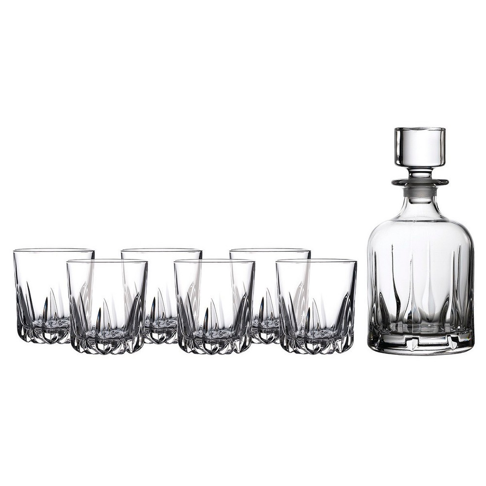 Image of Royal Doulton Mode 5pc Whiskey Decanter and Glasses Set, Clear