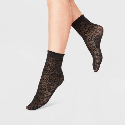 Women's Floral Anklet Socks - A New Day™ Black 4-10