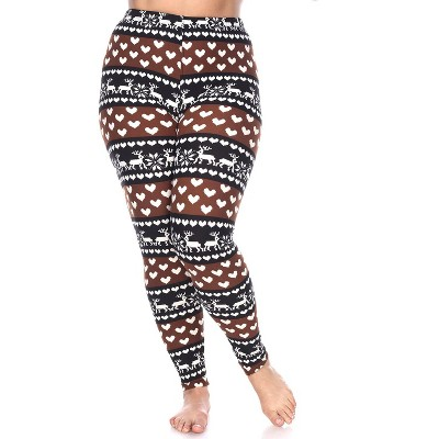 Women's Plus Size Printed Leggings - White Mark