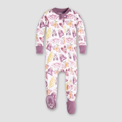 Burt's Bees Baby Girls' Organic Cotton Dancing Moths Footed Sleeper - Purple 3-6M
