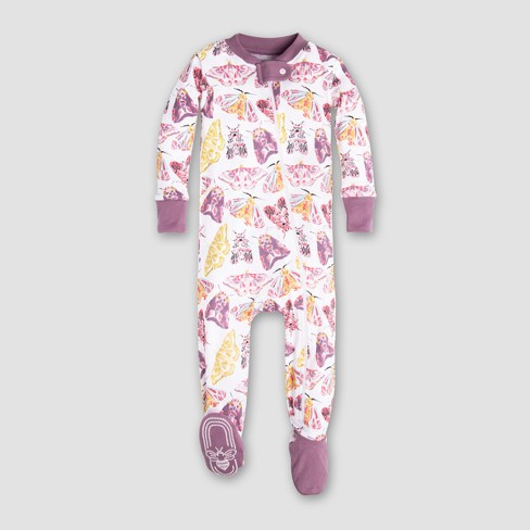 Burt's Bees Baby Girls' Organic Cotton Dancing Moths Footed Sleeper - Purple - image 1 of 2