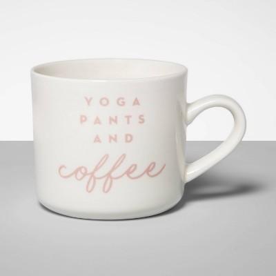 16oz Stoneware Yoga Pants and Coffee Mug Cream - Opalhouse™