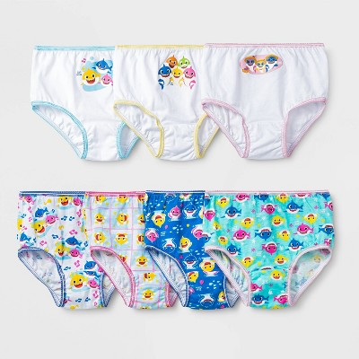 Toddler Girls' 7pk Baby Shark Briefs - 2T-3T