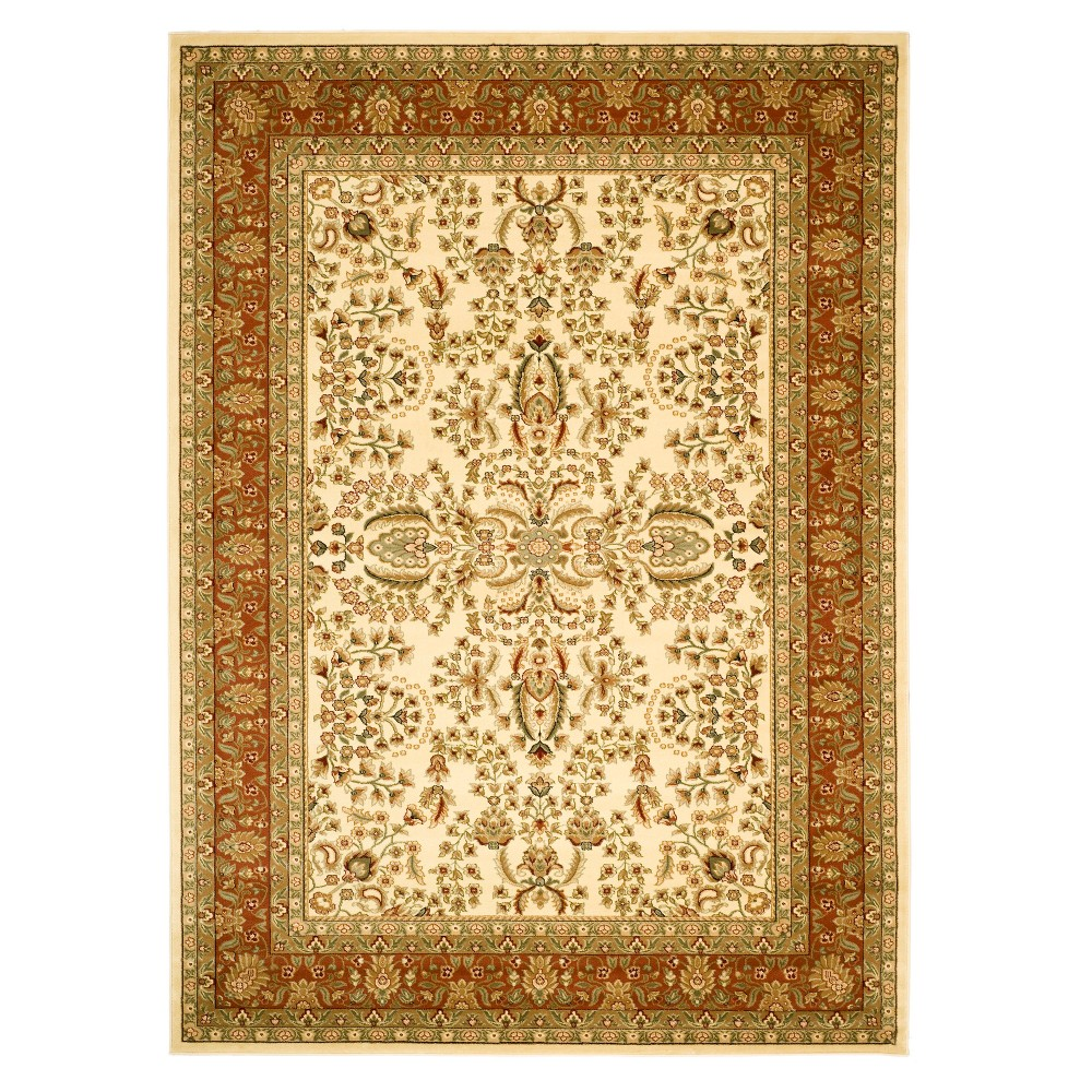 Blue Floral Loomed Area Rug 9'X12' - Safavieh, Ivory/Red